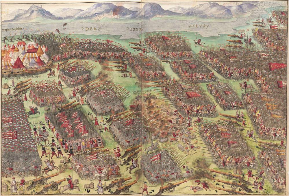 The Battle of Mohács pictured by German artist Johann Schreire 1555