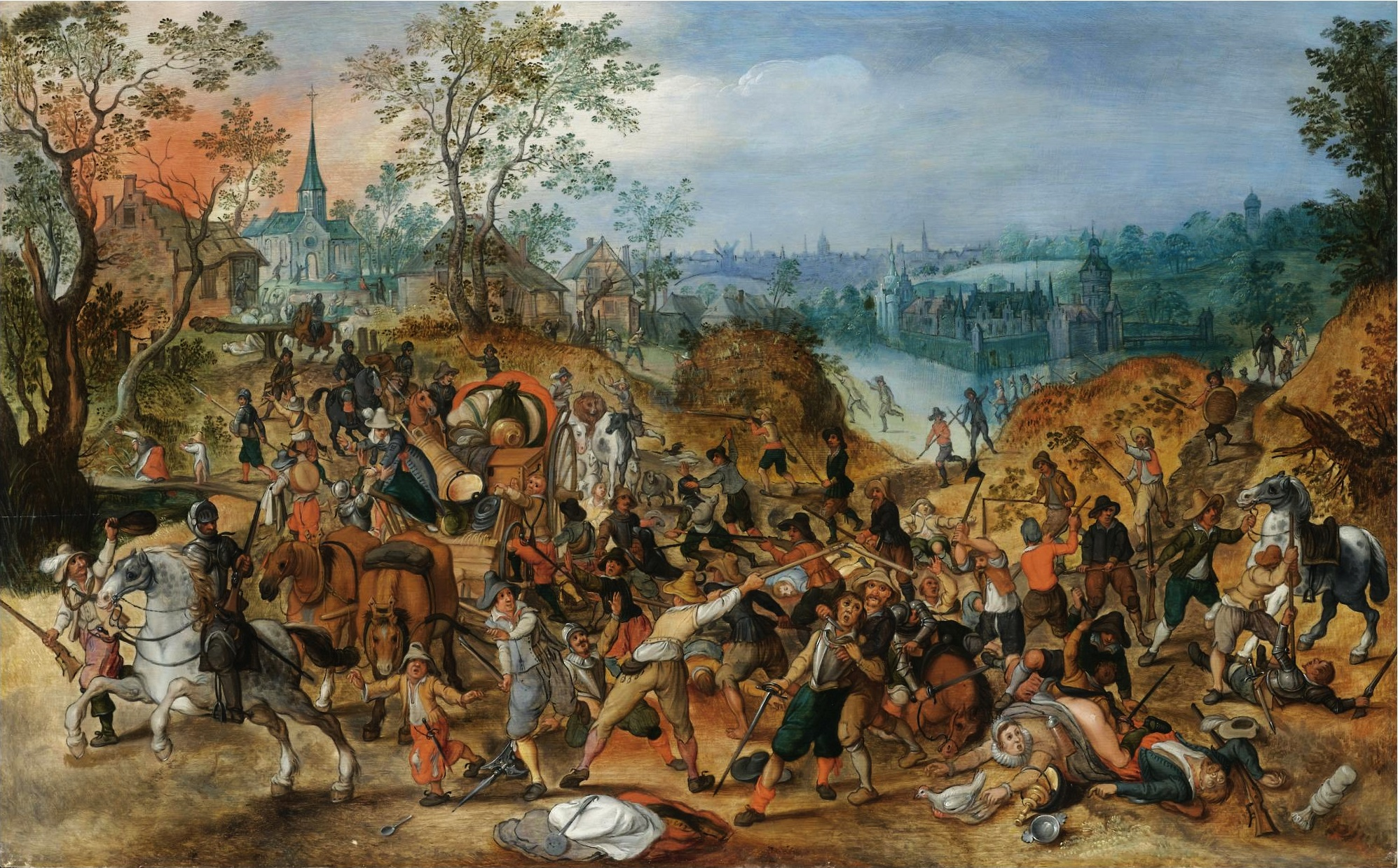Sebastiaan_Vrancx_(studio)_-_A_landscape_with_travellers_ambushed_outside_a_small_town