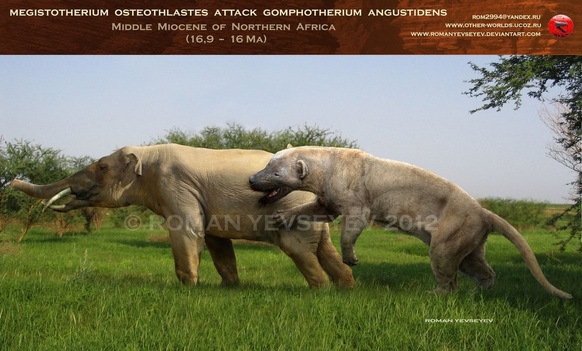 megistotherium_attacks_gomphotherium_by_romanyevseyev-d4vduwx