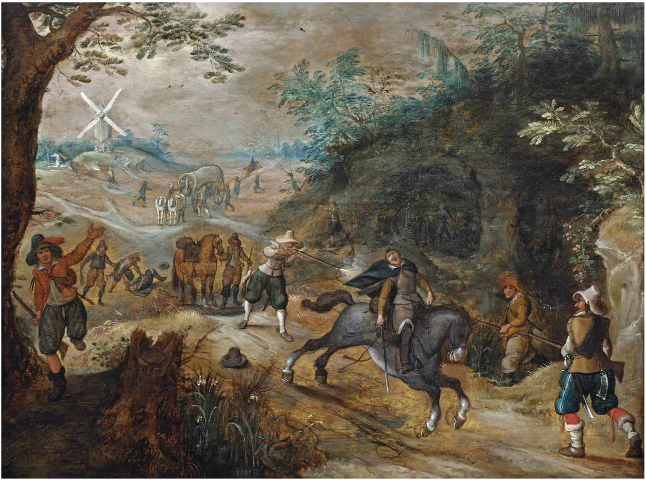 Sebastiaan_Vrancx_and_Jan_Breughel_II_-_A_landscape_with_a_travelling_company_being_ambushed