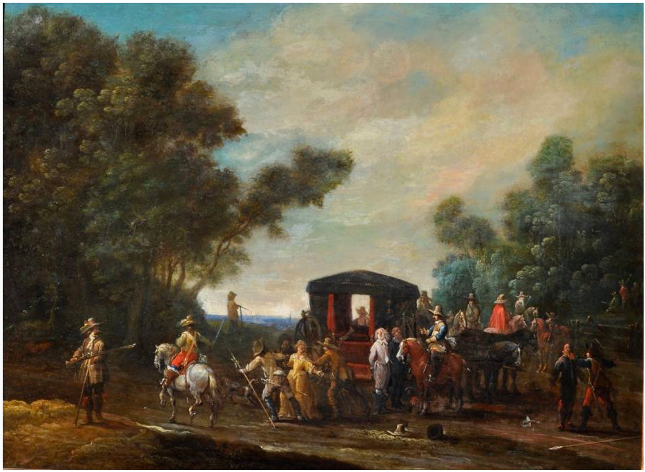 Pieter_Meulener_-_Soldiers_attacking_a_coach_with_travellers