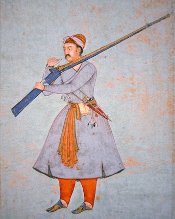 Officer_of_the_Mughal_Army,_c.1585_(colour_litho)