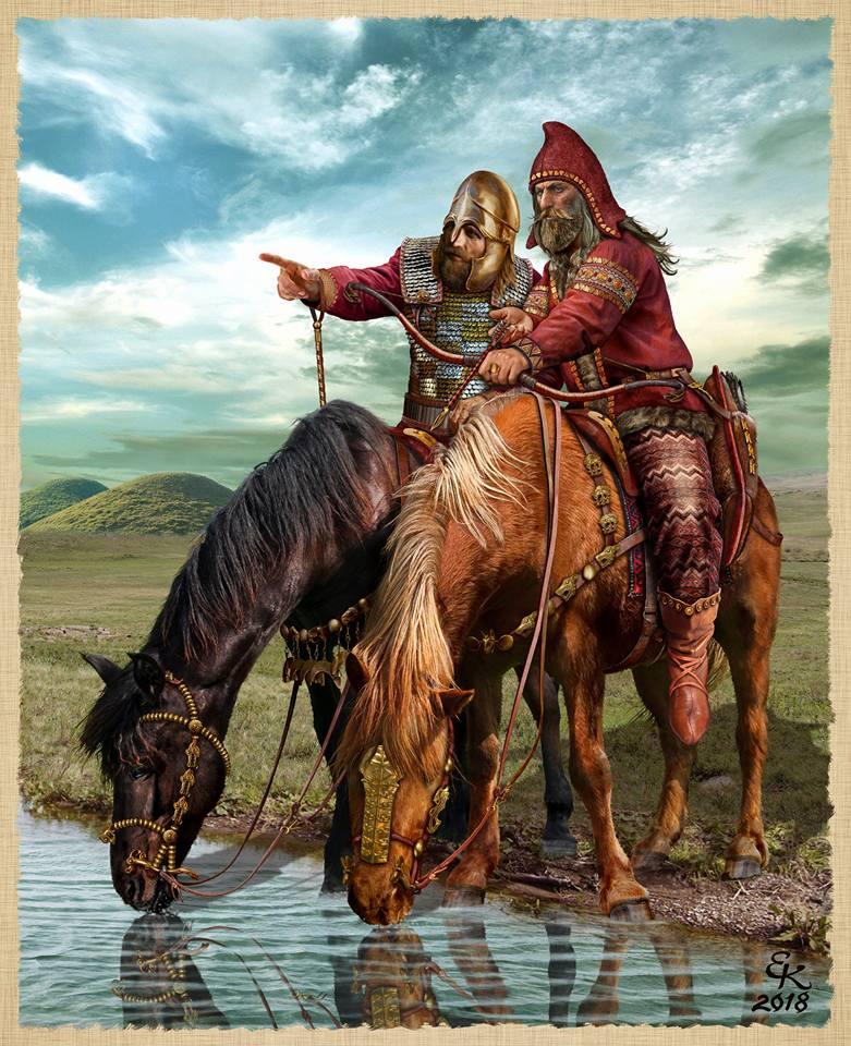 Скифский царь и его военачальник , Северное Причерноморье , V - IV в до н.э . Художник Евгений Край
