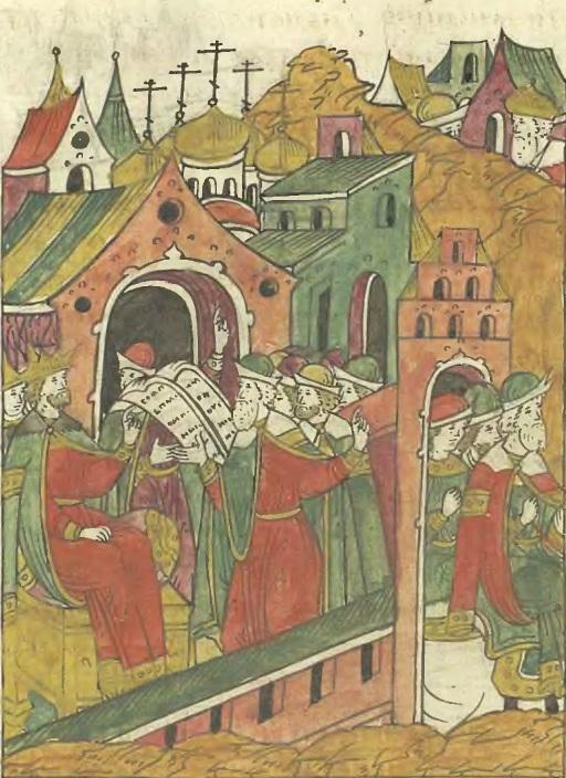 Иван Грозный передает литовским послам обидные списки о порубежных шкодах_ Миниатюра из Лицевого свода
