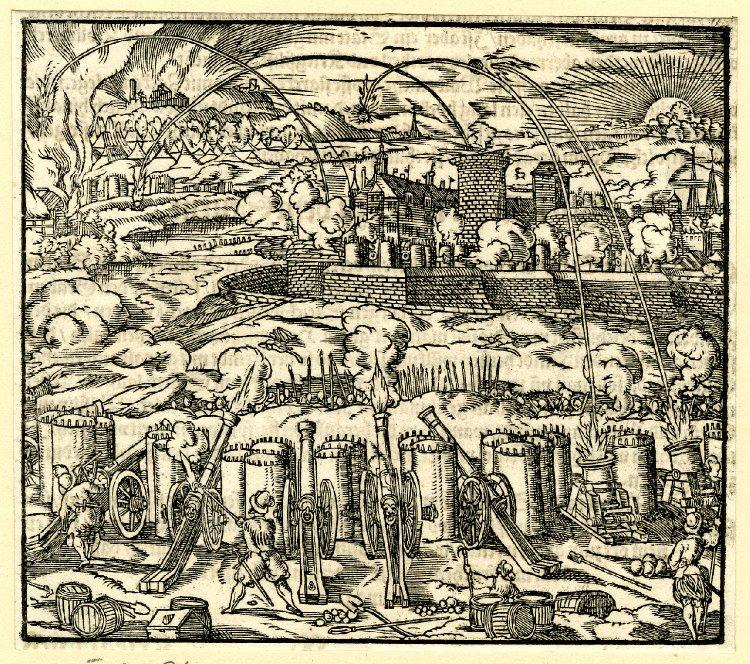 Бомбардировка города осадной артиллерией. Гравюра из Военной книги Л. Фронспергера. 1573 г.