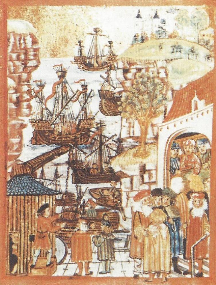 10. Ганзейские купцы и корабли. Миниатюра конца XV в.