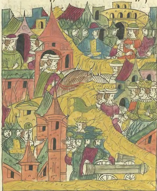 Гарнизон Рингена отражает приступы ливонского войска. Пересылки между Кеттлером и бюргерами Юрьева_Миниатюра из Лицевого свода