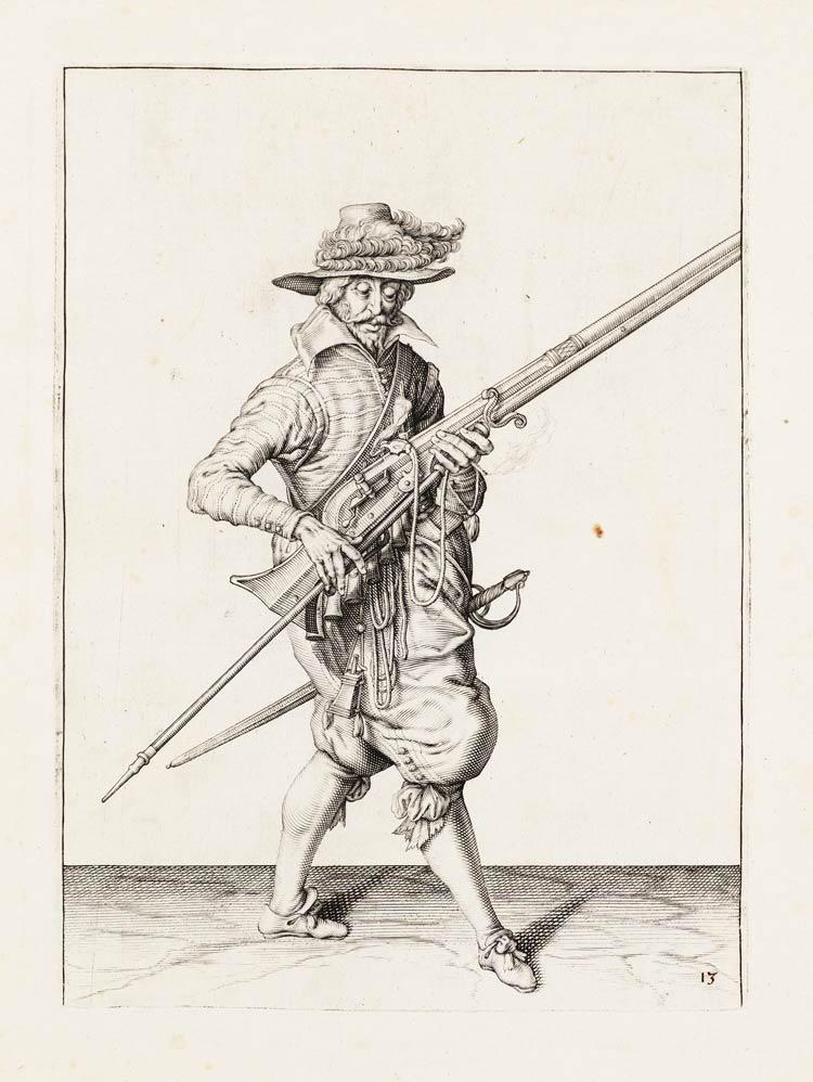 Aanwijzing_13_voor_het_hanteren_van_het_musket_-_V_Musquet_afneemt_ende_neffens_u_furquet_draecht_(Jacob_de_Gheyn,_1607)