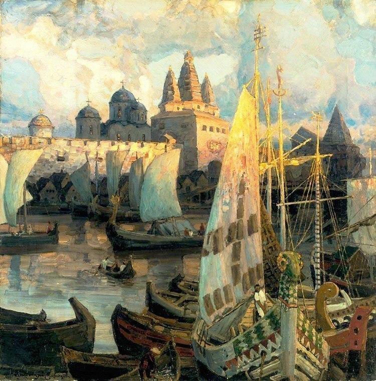 Аполлинарий Васнецов_ Варяжские корабли в Великом Новгороде_ 1902