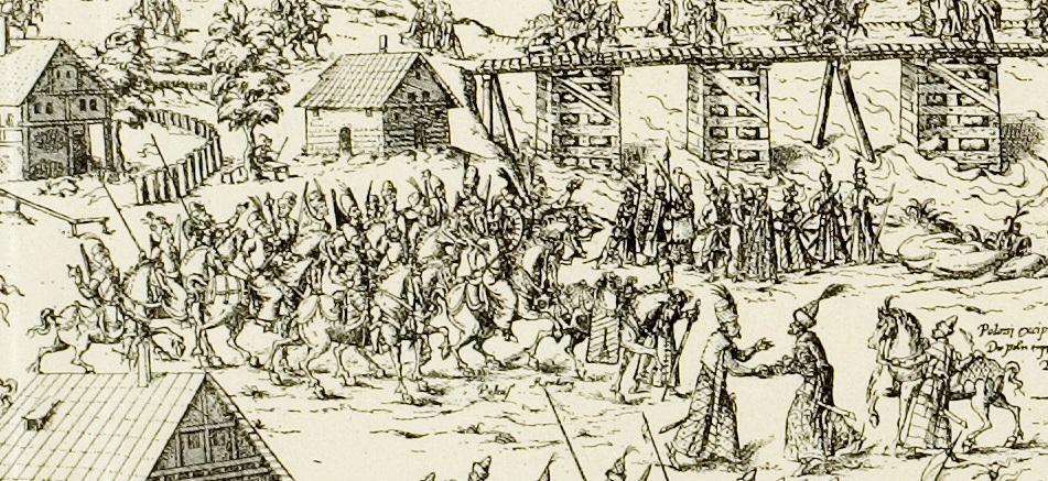 Рис 4. Литовские конные и пешие воины. Фрагмент гравюры М. Цюндта по рисунку Г. Адельгауэра