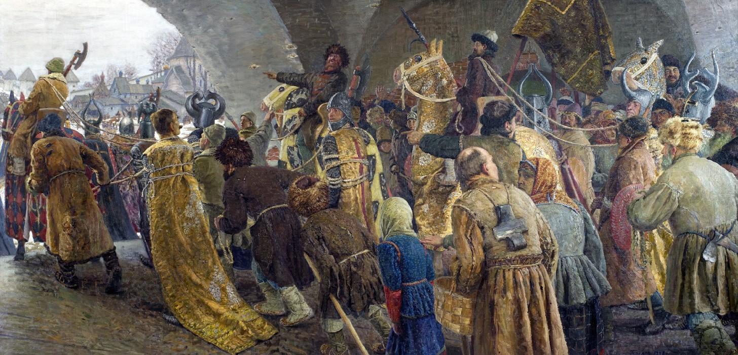 Ведут псов-рыцарей во Псков. Художник Г.Н. Горелов. 1947 г172