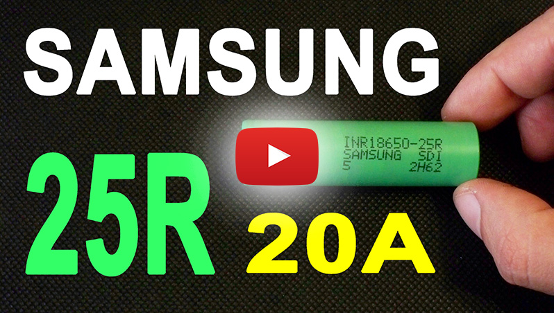 Samsung INR18650-25R Li-ion 18650 high-drain battery cell capacity test