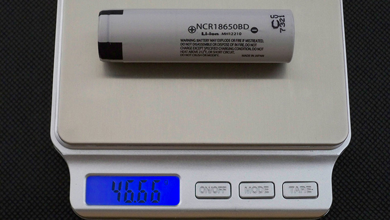 Panasonic NCR18650BD Li-ion 18650 cell battery discharge capacity test