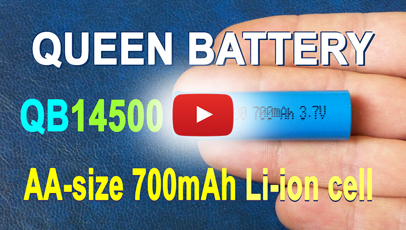 Queen Battery QB14500 700mAh 3.7V AA-size Li-ion battery's capacity test