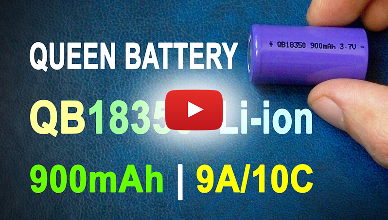 Queen Battery QB18350 900mAh 9A Li-ion battery's capacity test | Thunderheart Reviews