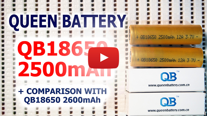 Queen Battery QB18650 2500mAh capacity test comparison with QB18650 2600mAh | Thunderheart Reviews | 18650 battery test capacity test Li-ion Lithium
