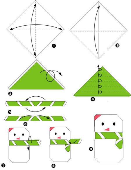 Снеговик схемы оригами
