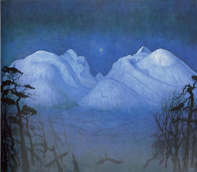 Vinternatt i fjellene, 1914