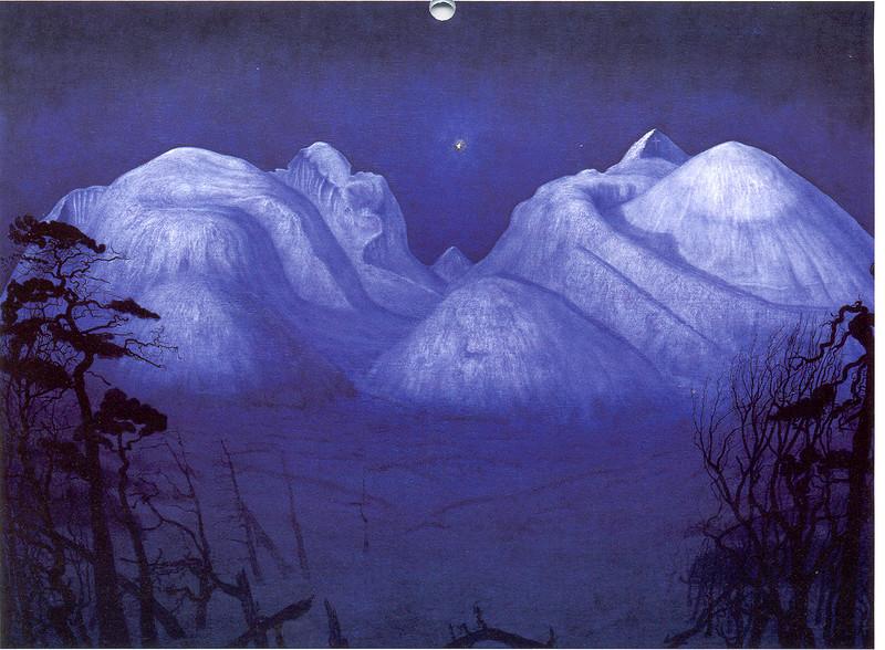 Vinternatt. Зимняя ночь в Рондане (1914), Национальный музей искусства, архитектуры и дизайна, Осло