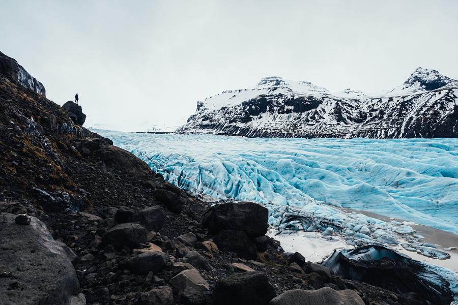 Man vs Glacier at Reynisfjara