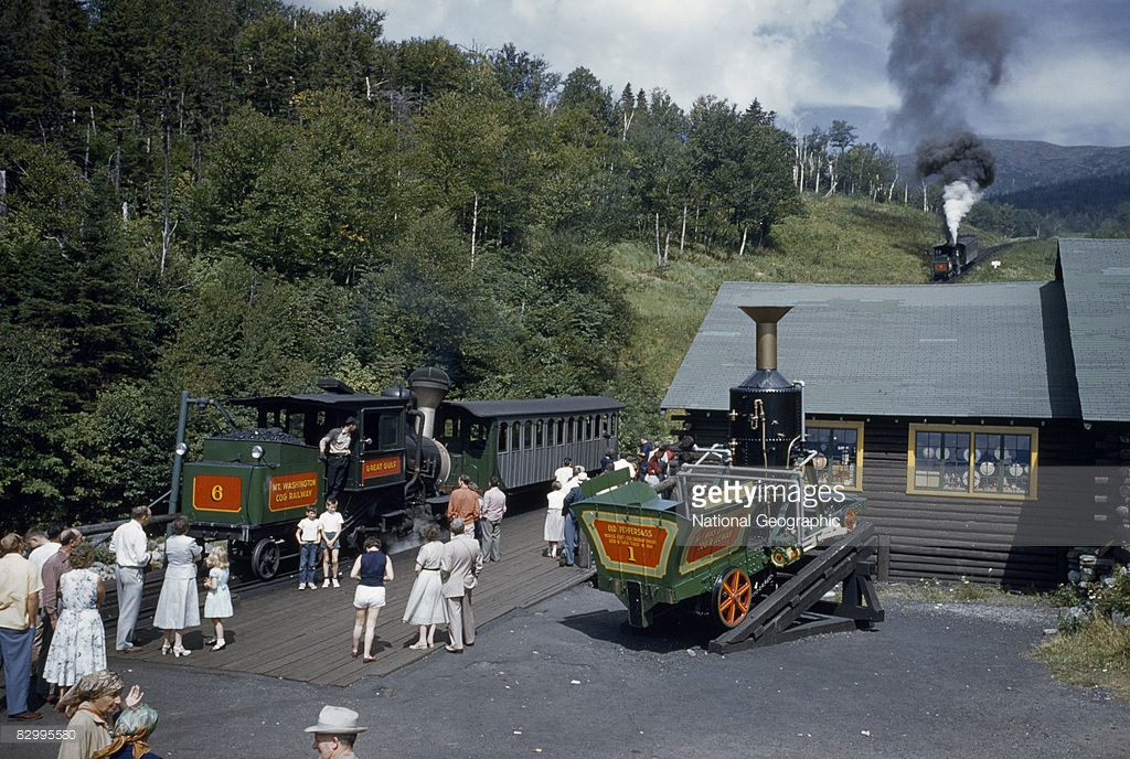 1955 People tour original steam train at station below Mount Washington, Near Mount Washington, New Hampshire by B. Anthony Stewart.jpg