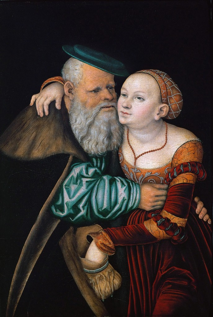 Куртизанка и старик - Старый дурак (Courtesan and old man - The old fool)_1531_51 х 36.5_дерево, темпера_Вена, Галерея Академии искусств.jpg