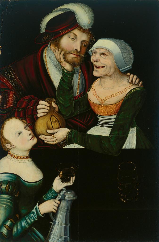 Ungleiches Paar Junger Mann und Greisin mit einer Magd, um 1545-50.jpg