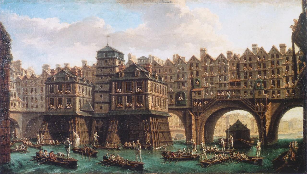 Joutes_pont_au_change_Raguenet_1752 Nicolas-Jean-Baptiste Raguenet La Joute des mariniers entre le Pont-Notre-Dame et le Pont-au-Change.jpg