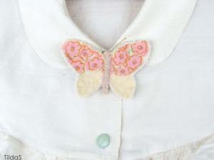 брошка бабочка шелковая розовая 07