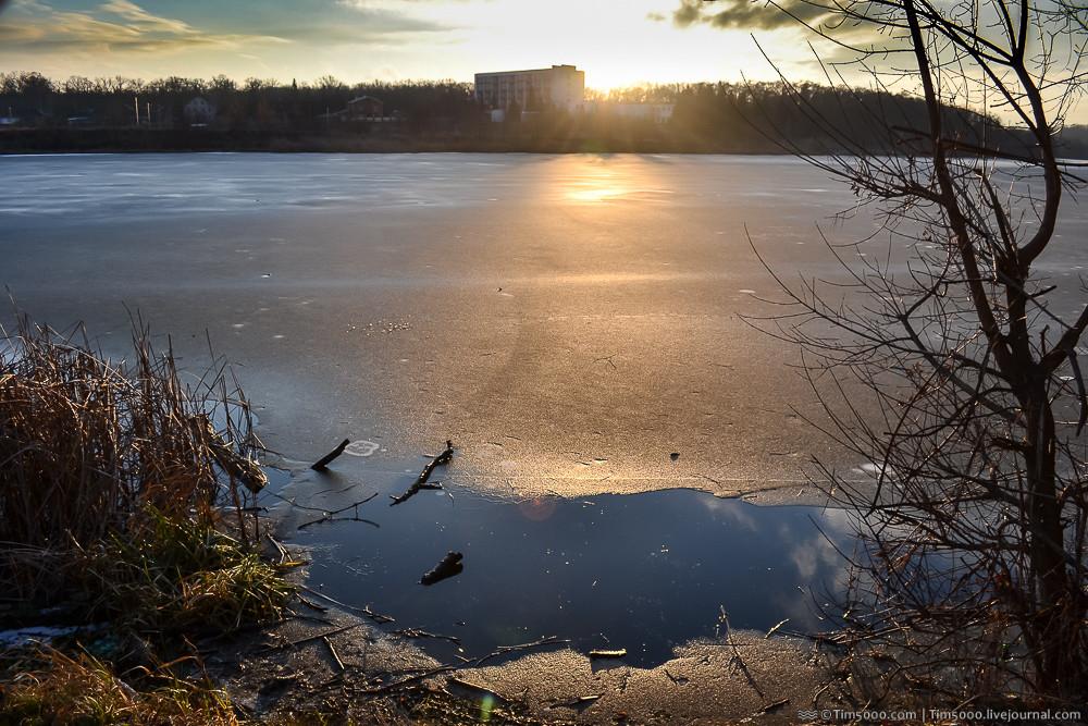 Зимний закат. Речка Рось