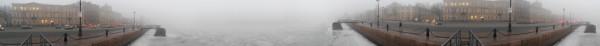 Санкт-Петербург в феврале 2015, круговая панорама с набережной лейтенанта Шмидта туманным утром