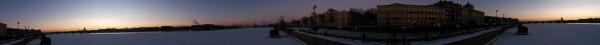Санкт-Петербург в феврале 2015, круговая панорама с набережной лейтенанта Шмидта ясным утром