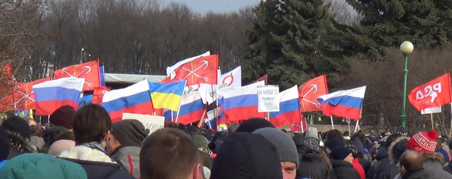 Санкт-Петербург, в память о Немцове 2015.03.01, Марсово поле, флаги на митинге