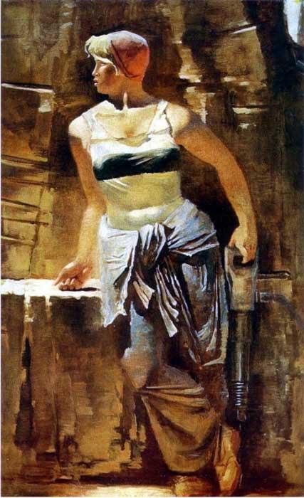 Самохвалов, Метростроевка со сверлом, 1937