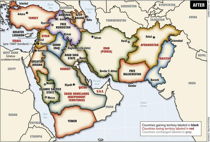 Карта Ближнего Востока после горячей войны и устаканивания границ