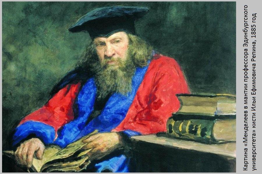 Картина «Менделеев в мантии профессора Эдинбургского университета» кисти Ильи Ефимовича Репина, 1885 год