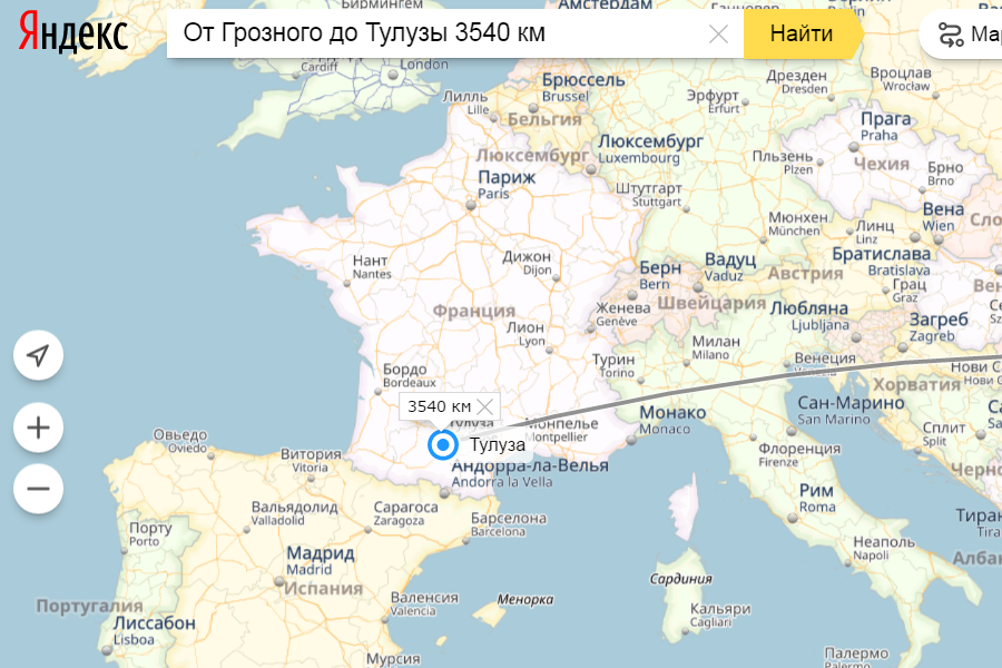 От Грозного до Тулузы 3540 километров минимум