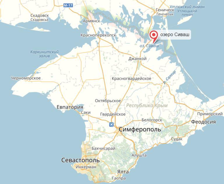 Озеро Сиваш на карте. Армянск к западу от него, у другого конца границы Крыма с Украиной