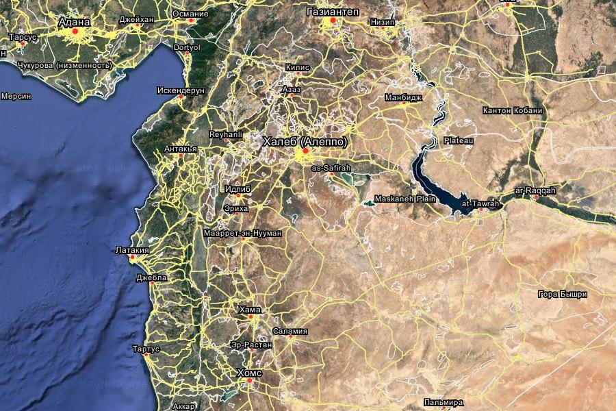 Сирия, центр и север, видны важные города: Манбидж, Алеппо, Хама, Хомс, Пальмира. Дамаск южнее, его не видно