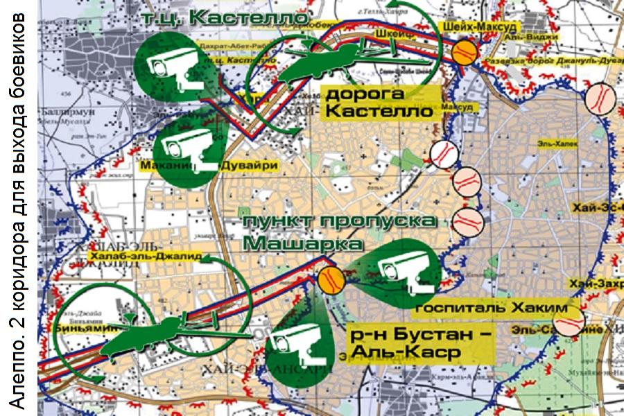 Сирия, город Алеппо, гуманитарная пауза. Два коридора для контролируемого выхода боевиков из котла: дорога Кастелло, район Бустан аль-Каср. Карта