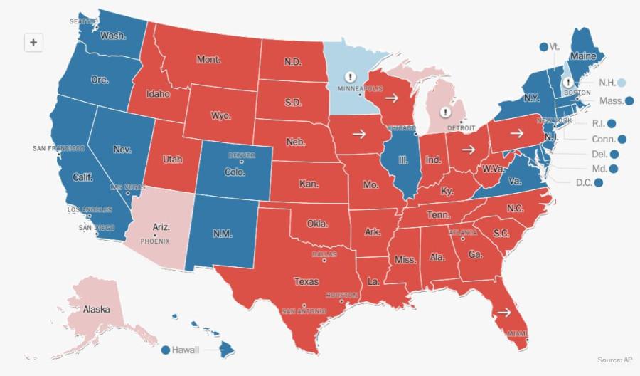 Результаты выборов президента США по штатам, на 19.00 мск
