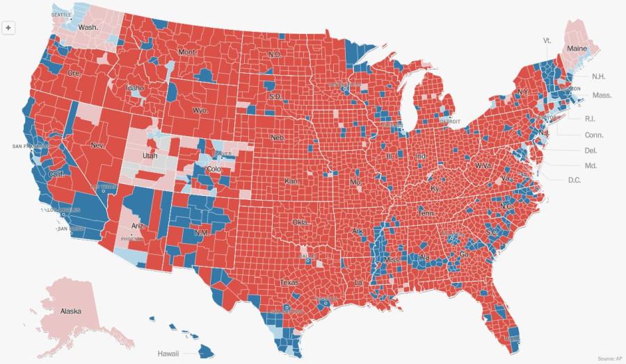 Результаты выборов президента США по округам штатов, на 19.00 мск