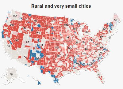 По городам - очень маленькие города и сельская местность