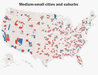 По городам - малые и средние города с пригородами