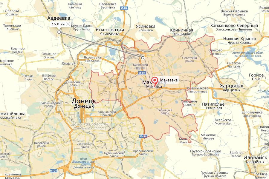 Донецк, Макеевка, Ясиноватая и Авдеевка на карте Донецкой области, ныне ДНР