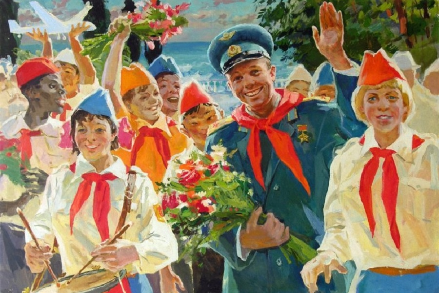 Гагарин и пионеры как символ симфонической жизни народов СССР в одной семье