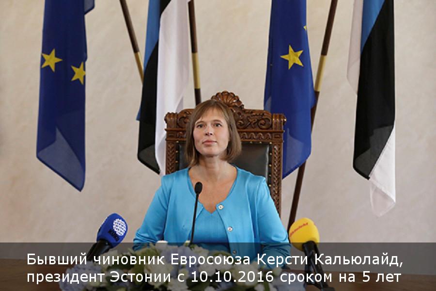 Бывший чиновник Евросоюза Керсти Кальюлайд, президент Эстонии с 10.10.2016 сроком на 5 лет