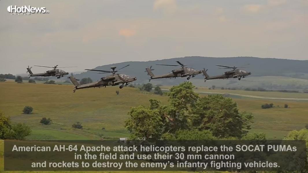 Группа из четырех вертолетов «Апач» почти неподвижно висит в воздухе, якобы атакуя противника