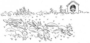 Повесть про лисёнка. Следующая после яичницы (и последняя) картинка нарисована гораздо хуже остальных. Художнику опротивела сказка?