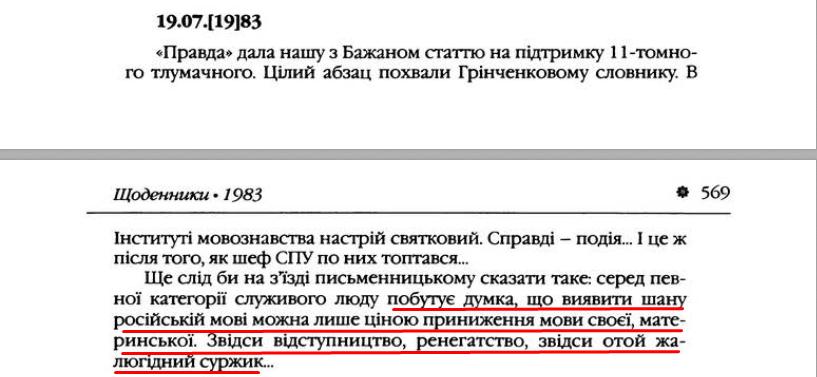 """О. Гончар, """"Щоденники"""", ст. 568-569, Том II, 2003 р."""